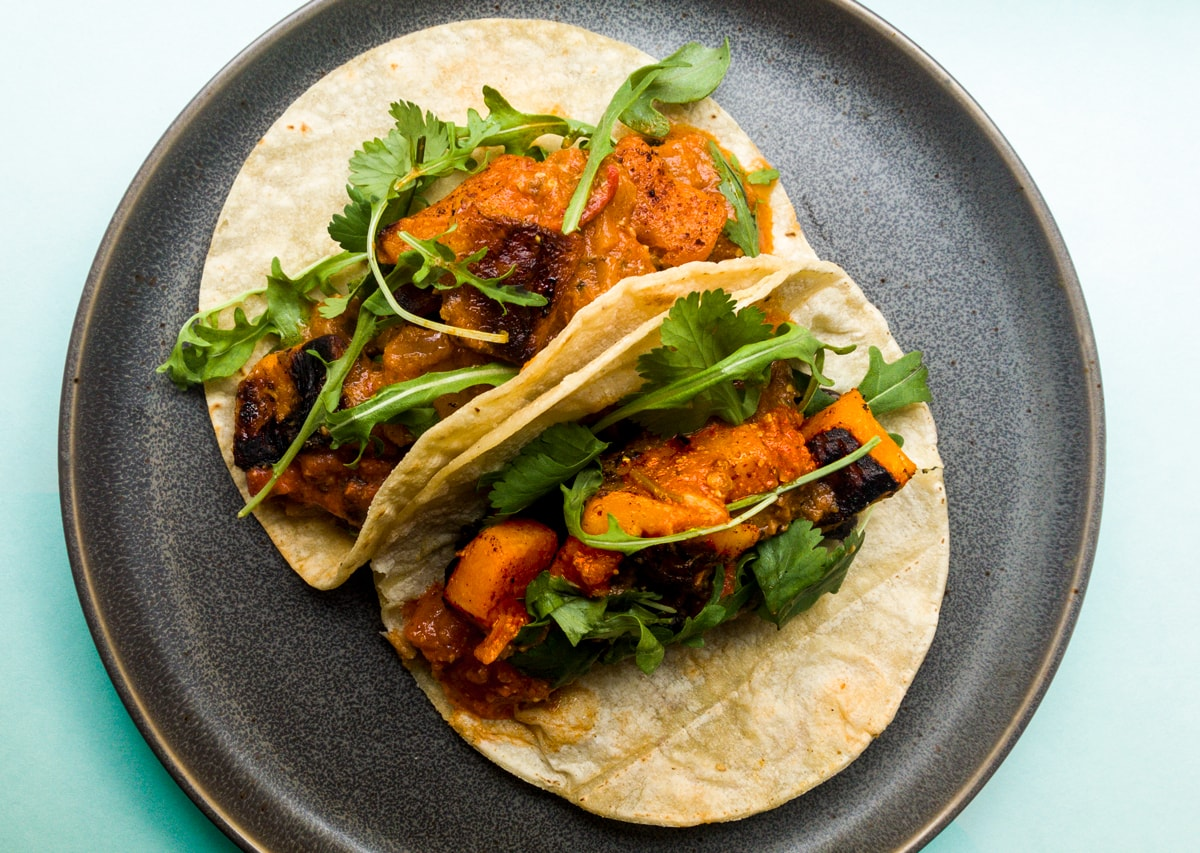 Roasted Butternut Squash and Black Bean Tacos with Pepita Salsa